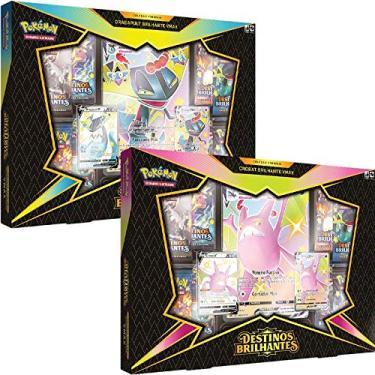 Imagem de 2 Box Pokémon Destinos Brilhantes Coleção Premium Crobat VMAX e Dragapult VMAX Copag cartas cards português