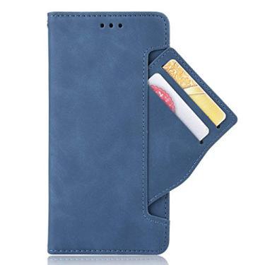 zl one Compatível com/Substituição para Capa de telefone Motorola Moto G 5G Plus/One 5G Couro PU Proteção Cartão Slots Capa carteira Flip Cover (azul)