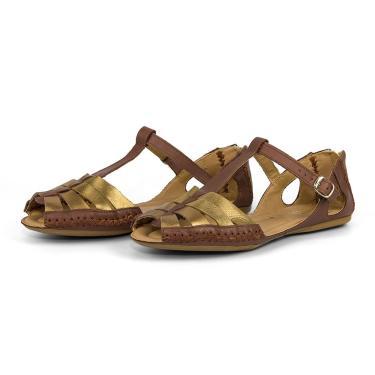 Imagem de Sandália Feminina Moleca Em Couro Conforto Q&A Calçados Bronze  feminino