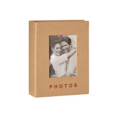 Classic Álbum 100 fotos 13x18 Capa Dura Janela Personalizável KAKI