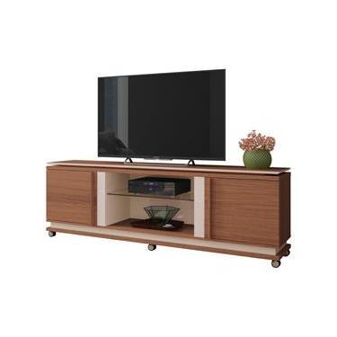 Rack Bancada Para TV até 70 Pol. Level 2 Portas Nature/Off White - HB Móveis