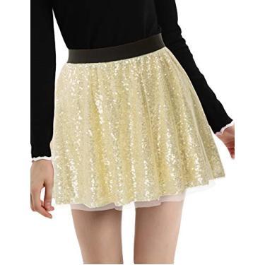 Mini saia feminina Kate Kasin com lantejoulas, cintura elástica, 3 camadas, comprimento médio da coxa, linha A, Dourado, Small