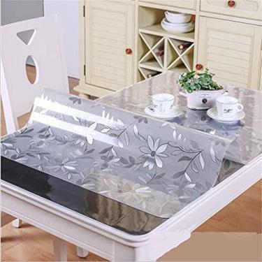 Imagem de Toalha de mesa de vinil com forro de flanela quadrada 90x200 cm, toalha de mesa de plástico retangular, rolinho de plástico para mesa, para festas, casamentos, cozinha, capa de mesa resisten