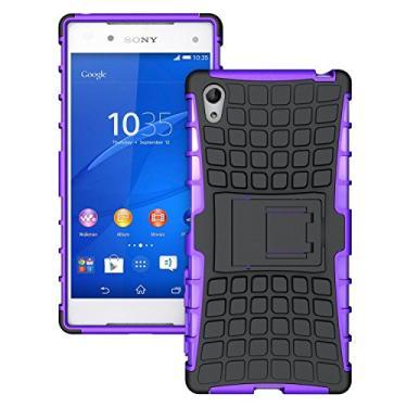 SCIMIN Capa para Sony Xperia Z5, capa para Xperia Z5, proteção resistente de camada dupla/à prova de choque/resistência a quedas capa híbrida robusta com suporte para Sony Xperia Z5 (roxa)