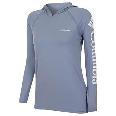 Camiseta Columbia Aurora Manga Longa Com Capuz Feminina -Cinza Beacon P