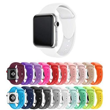 Pulseira Silicone para Apple Watch 40mm e 38mm - Branco - Tamanho M/L [G] - Marca Ltimports