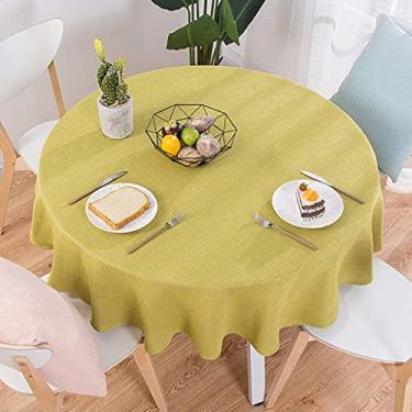 Imagem de Toalha de mesa redonda de linho de algodão 220 CM 220 CM, toalha de mesa para mesa de cozinha, capa de mesa de algodão, toalha de mesa de cor sólida, festa de casamento, toalhas de mesa, dec
