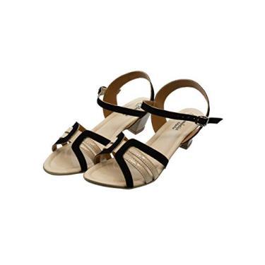 Sandália Romântica Calçados Num.Especial 40 Ao 44 Preto com Marfim (44)