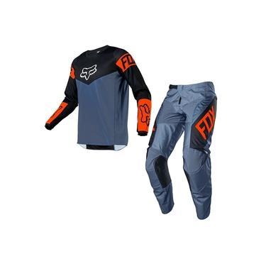 Calça E Camisa Fox 180 21 Revn Azul Laranja