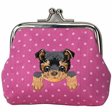 [YORKSHIRE TERRIER] Carteira de moedas com fivela de cachorro bordada fofa, Hot Pink, Small