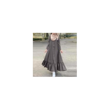 Zanzea 2020 Vestido Vintage Das Mulheres Vestido de Outono Casual Manga Comprida Ruffle Sólido Camisa Vestidos Flounce Vestido de Verão Kaftan Plus Size