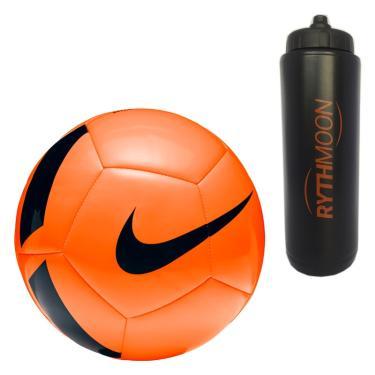 Kit Bola Futebol Campo Nike Pitch Team SC3166 Laranja Preto + Squeeze  Automático 1lt 0fe49272f444c