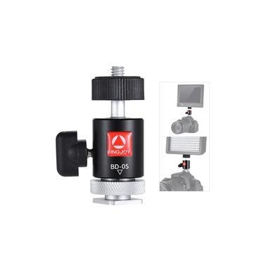 Imagem de Cabeça Mini Ball Head Kingjoy BD-0S 360° com Adaptador de Sapata para Leds, Monitores e Câmeras