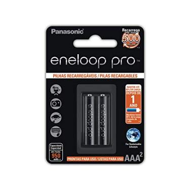 Pilha Recarregável Eneloop PRO AAA (Palito), BK-4HCDE/2BB, Panasonic, Cartela com 2 unidades