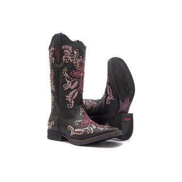 Bota Texana Feminina - Mustang Preto / Pink - Roper - Bico Quadrado - Cano Longo - Solado Freedom Fl