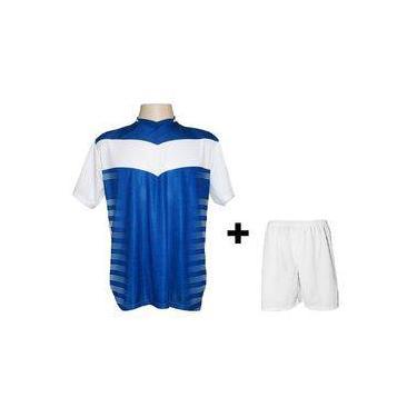 Uniforme Esportivo Com 12 Camisas Modelo Dubai Branco royal + 12 Calções  Modelo Madrid Branco c8f810bb9db43