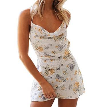 Imagem de maiduoduo01 Vestido floral para mulheres, vestido com estampa floral slim verão alças finas costas nuas para praia branco M