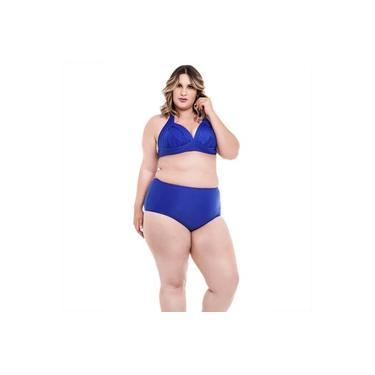 Biquíni Plus Size Frente Única com Bojo e Alças Largas e Calcinha Hot Pants Azul Bic