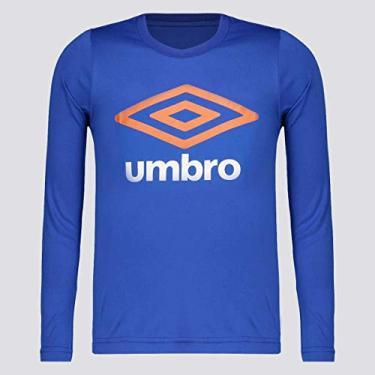 Camiseta Umbro Basic UV Manga Longa Juvenil Azul