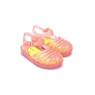 Sandália Mini Melissa Possession BB Glitter Coral