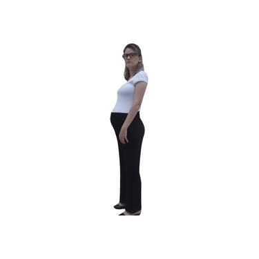 Calça Feminina Gestante Pantalona Cintura Alta com Franzidos Preta