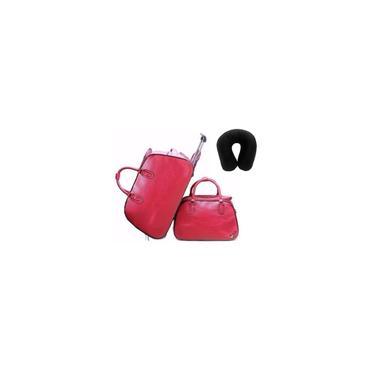 Imagem de Kit Conjunto Mala de Rodinha Mala de Mão Sintético Vermelho com Almofada a Bordo Viagem
