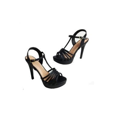 Sandalia Feminina Preta Tiras Salto Alto Salto Fino Meia Pata Plataforma Sapatos Femininos
