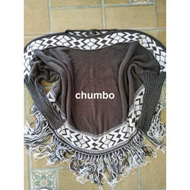 blusa poncho tricot feminino quentinho (chumbo)