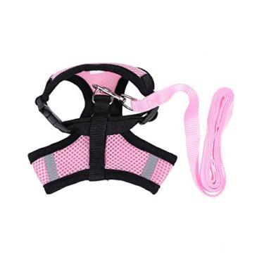 Imagem de Coleira para cães Popetpop com colete, peitoral e costas no peito, respirável, ajustável para animais de estimação, filhotes, gatos, cachorros (tamanho G, rosa