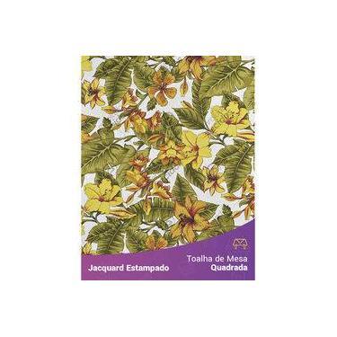 Imagem de Toalha De Mesa Quadrada Em Tecido Jacquard Estampado Flor Hibiscus Amarelo