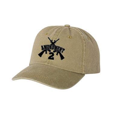 Crossed Guns AR-15 2nd Amendment Boné de sarja de algodão tingido não estruturado bordado, Caqui, tamanho �nico