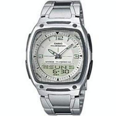 1e35ba06d31 Relógio Masculino Anadigi Casio Standard AW-81D-7AV- Inox Branco