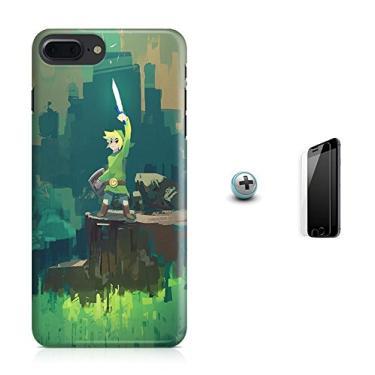 Kit Capa Case TPU iPhone 8 Plus - Zelda Link Ocarina of Time Breath of The Wild + Pel Vidro (BD01)