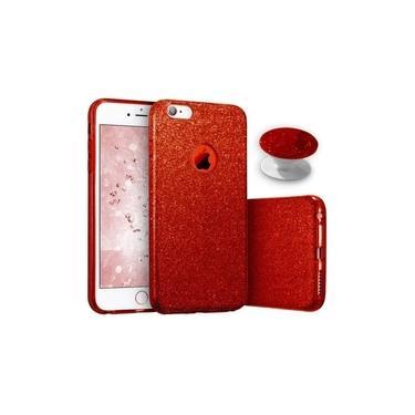 Capa iPhone 7/8 Plus Glitter Anti Impacto Brilhante Feminina Com Pop Socket