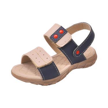 Sandália Infantil Raniel Calçados Papete Velcro Marfim Marinho  menino