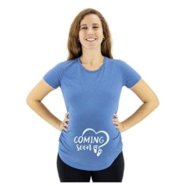 Camiseta de gravidez para mulheres com estampa fofa de bebê Bump Coming Soon, Azul mesclado, L
