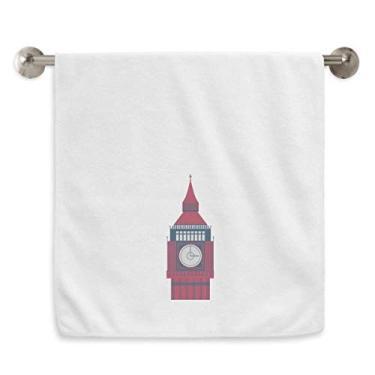 Imagem de DIYthinker Toalha de mão Tower Big Ben UK Landmark Flag Toalha de banho de algodão macio