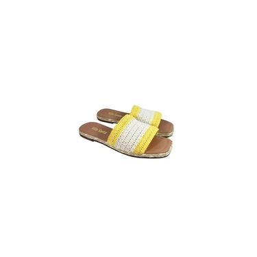 Imagem de Rasteira Slide Casual em Crochê creme com amarelo