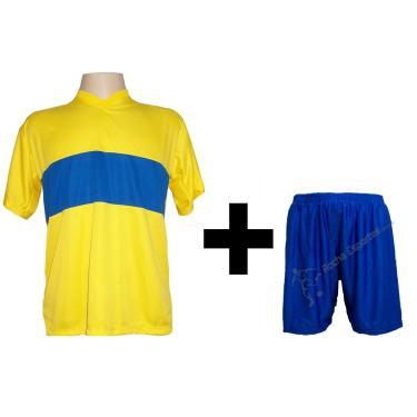 Imagem de Uniforme Esportivo Com 14 Camisas Modelo Boca Juniors Amarelo/Royal + 14 Calções Modelo Madrid Royal + Brindes