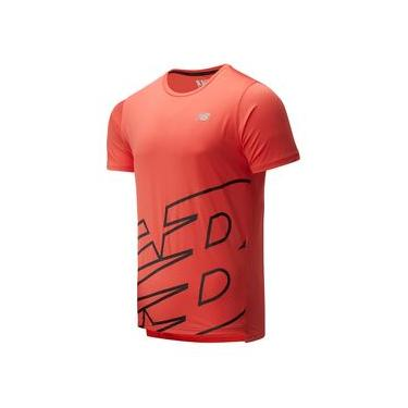 Camiseta de Manga Curta New Balance Printed Accelerate Ss | Masculino Vermelho - M
