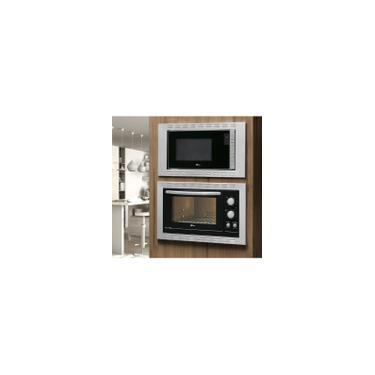 Imagem de Kit Fischer Linha New Fit Line Forno 44l + Micro Ondas 25lt Embutir - 220v