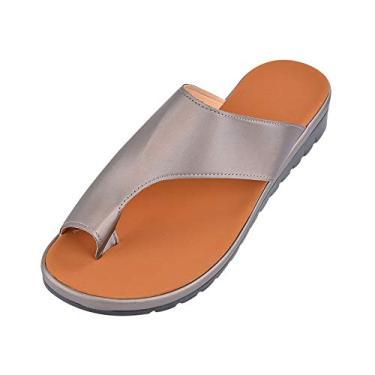 Imagem de BITUBITU Sandálias corretivas para correção de dedos, chinelos de bico alisador ortopédico, sandálias de bolhas para mulheres, Caqui, 39 M EU