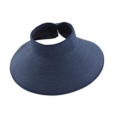 Romacci Chapéu de praia feminino de aba larga com viseira de sol UV FPS 50+, Azul escuro, tamanho �nico
