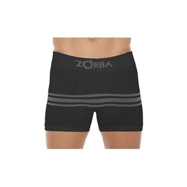 Cueca Boxer Zorba Seamless Listras II S/ Cost Algodão Preta
