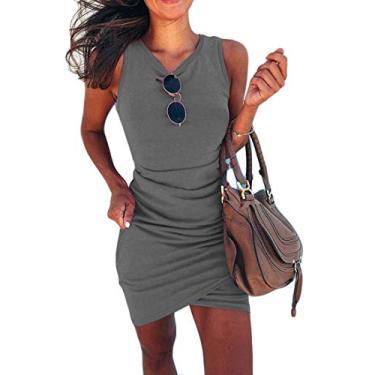 Mini vestido feminino UUYUK colado ao corpo, sem mangas, cor lisa, bainha irregular, verão, praia, clube, Cinza, Medium