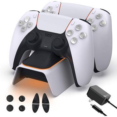 Carregador controlador PS5 atualizado nexiGo com kit de aderência do polegar, adaptador AC de carregamento rápido, estação de carregamento dualsense para controladores Dual Playstation 5 com indicador LED, branco