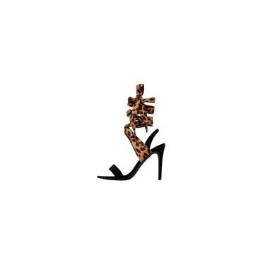 Imagem de Sandálias de salto agulha de camurça de leopardo com fita de tamanho grande feminino cool 5995