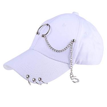KESYOO Boné de beisebol unissex ajustável com corrente de metal para uso ao ar livre para adultos, Branco, Small-Large