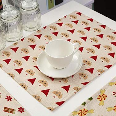 CHENGBEI Jogo americano retangular de algodão e linho, 6 peças