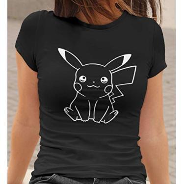 Camiseta Baby Look Pikachu Feminino Preto Tamanho:M